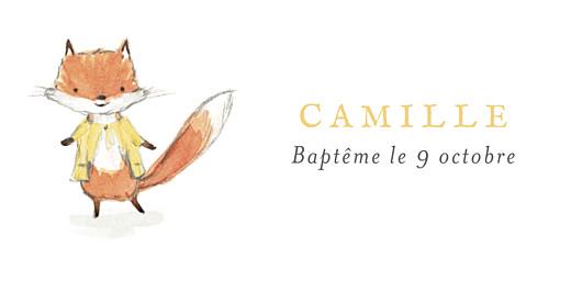 Marque-place Baptême Renard aquarelle blanc