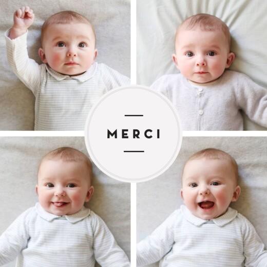 Carte de remerciement Petit médaillon chic photos blanc