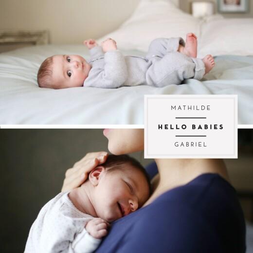 Faire-part de naissance Ecusson chic jumeaux 3 photos blanc