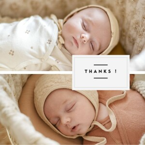 Carte de remerciement Petit écusson chic jumeaux blanc