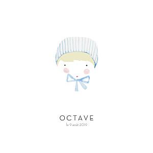 Faire-part de naissance classique petit minois garçon photo blond