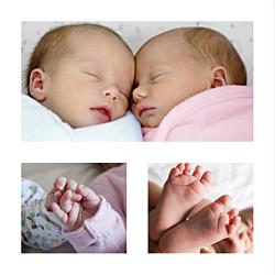 Faire-part de naissance Petits minois jumeaux 3 photos blonds