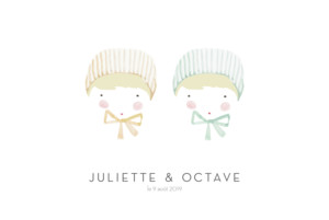 Faire-part de naissance Petits minois jumeaux photo blonds