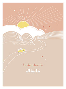 Affichette orange sunshine pêche