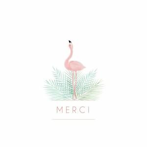 Carte de remerciement Petit flamant rose photo blanc