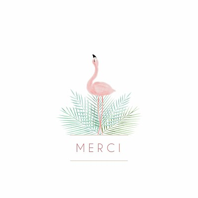 Carte de remerciement Petit flamant rose photo blanc finition