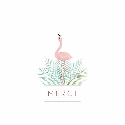 Carte de remerciement Petit flamant rose photo blanc finition