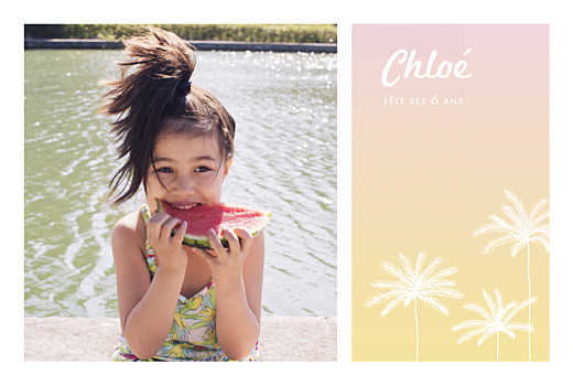 Carte d'anniversaire California dream photo rose