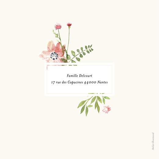 Faire-part de naissance Fleurs aquarelle photo crème