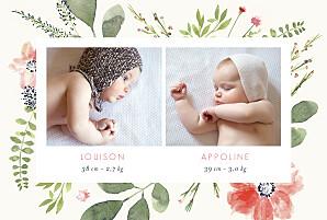 Faire-part de naissance Fleurs aquarelle photo jumeaux crème