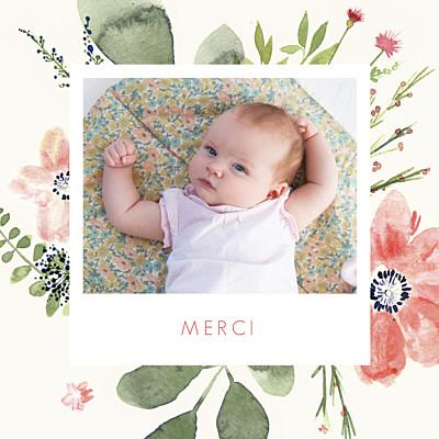 Carte de remerciement Petites fleurs aquarelle photo crème finition