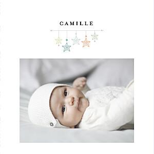 Faire-part de naissance blanc liberty origami étoile 2 photos mixte