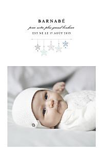 Faire-part de naissance avec photo liberty origami étoile photo bleu