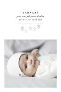 Faire-part de naissance Liberty origami étoile photo bleu