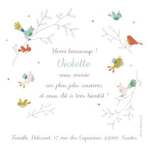 Carte de remerciement Petits oiseaux multicolores rose
