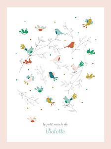 Affiche Oiseaux multicolores rose