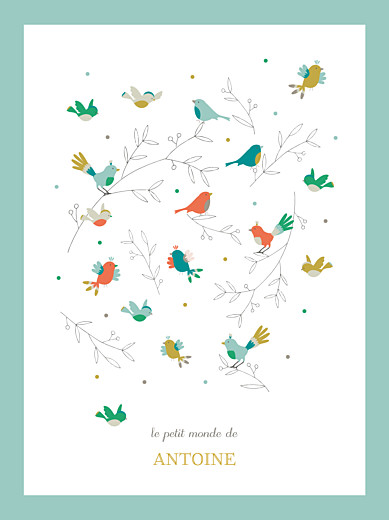 Affiche Oiseaux multicolores bleu - Page 1