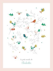 Affichette animaux oiseaux multicolores rose