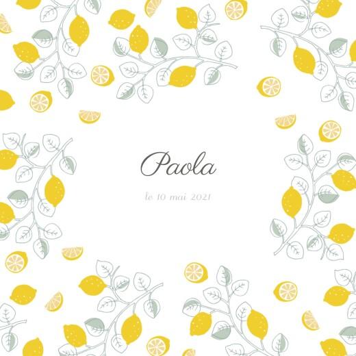 Faire-part de naissance Citrons 3 photos jaune