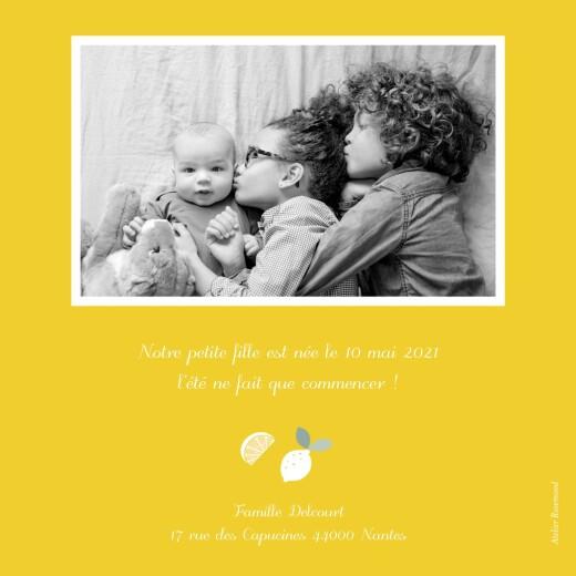 Faire-part de naissance Citrons photo jaune