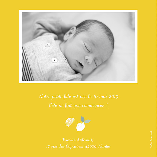 Faire-part de naissance Citrons photo jaune - Page 2