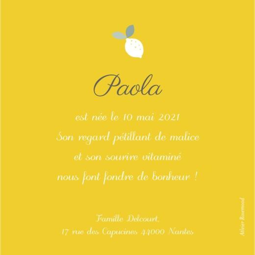 Faire-part de naissance Citrons (triptyque) jaune - Page 2