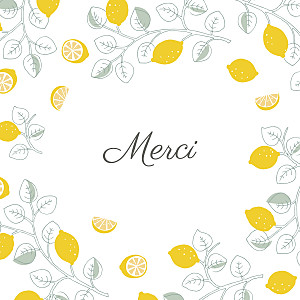 Carte de remerciement jaune petits citrons photo jaune