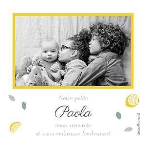 Carte de remerciement printemps-eté petits citrons photo jaune