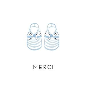Carte de remerciement tradition merci petit minois photo bleu