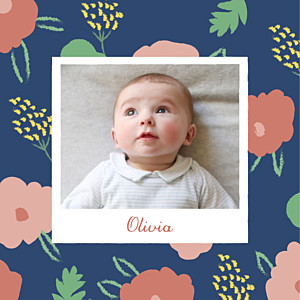 Faire-part de naissance avec photo fleurs pastel photo bleu nuit