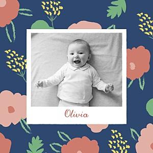 Faire-part de naissance marguerite courtieu fleurs pastel photo bleu nuit