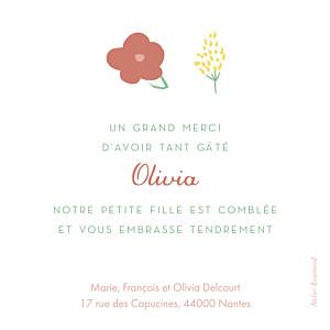 Carte de remerciement Petites fleurs pastel photo bleu nuit