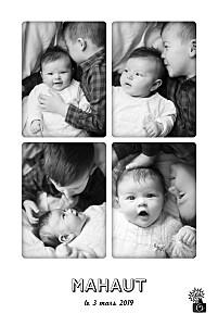 Faire-part de naissance vintage instant photos blanc