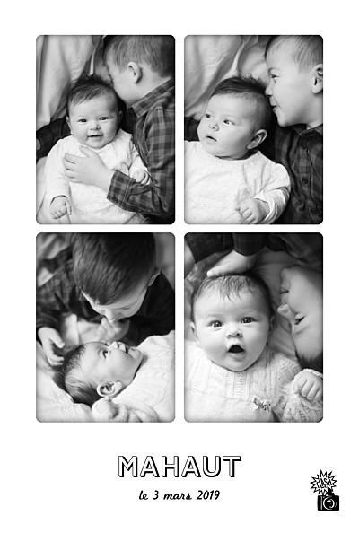 Faire-part de naissance Instant photos blanc finition