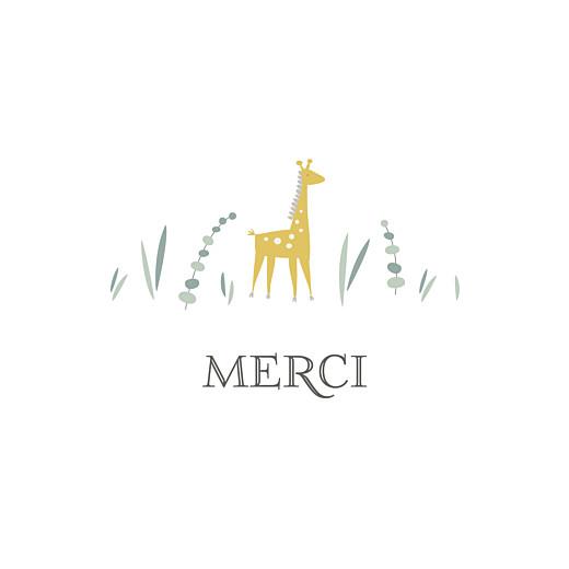 Carte de remerciement Petite girafe photo blanc