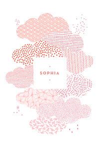Faire-part de naissance rose sur un petit nuage photo rv rose