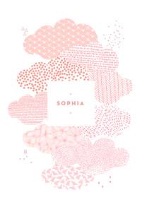 Faire-part de naissance Sur un petit nuage rose
