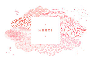 Carte de remerciement motifs merci sur un petit nuage photo rose