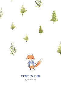 Faire-part de naissance Renard aquarelle photo rv bleu