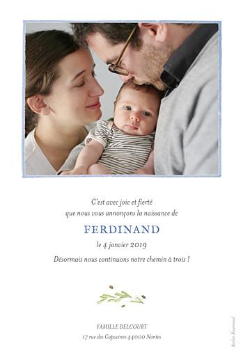 Faire-part de naissance Renard aquarelle photo rv bleu