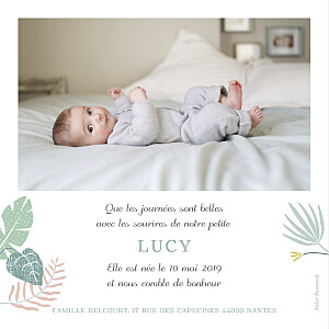 Faire-part de naissance Jardin tropical photo rose