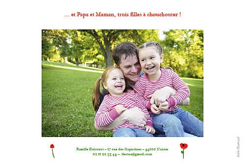 Faire-part de naissance Coquelicot 4 photos rouge