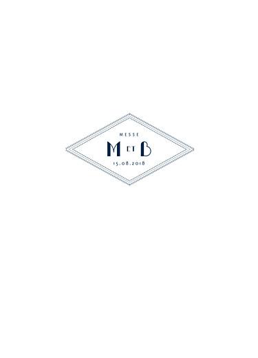 Livret de messe mariage Monogramme bleu nuit
