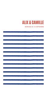 Menu de mariage rouge marinière (4 pages) bleu marine