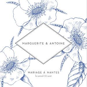 Faire-part de mariage rétro gravure chic (4 pages) bleu