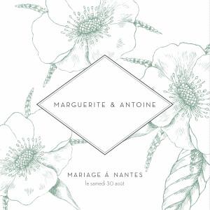 Faire-part de mariage Gravure chic (4 pages) vert