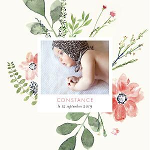 Faire-part de naissance Fleurs aquarelle photo rv crème