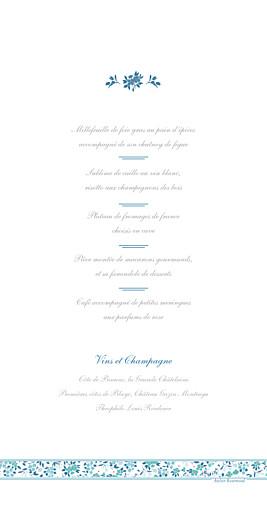 Menu de mariage Ruban liberty bleu