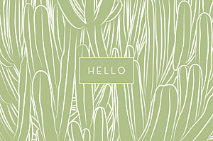 Carte de correspondance original cactus vert