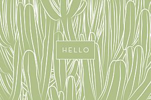 Carte de correspondance blanc cactus vert
